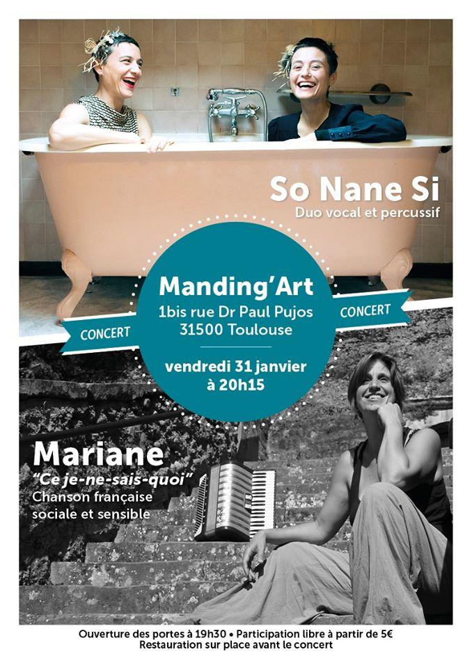Concert So Nane Si Vendredi 31 janvier au Manding'art à Toulouse