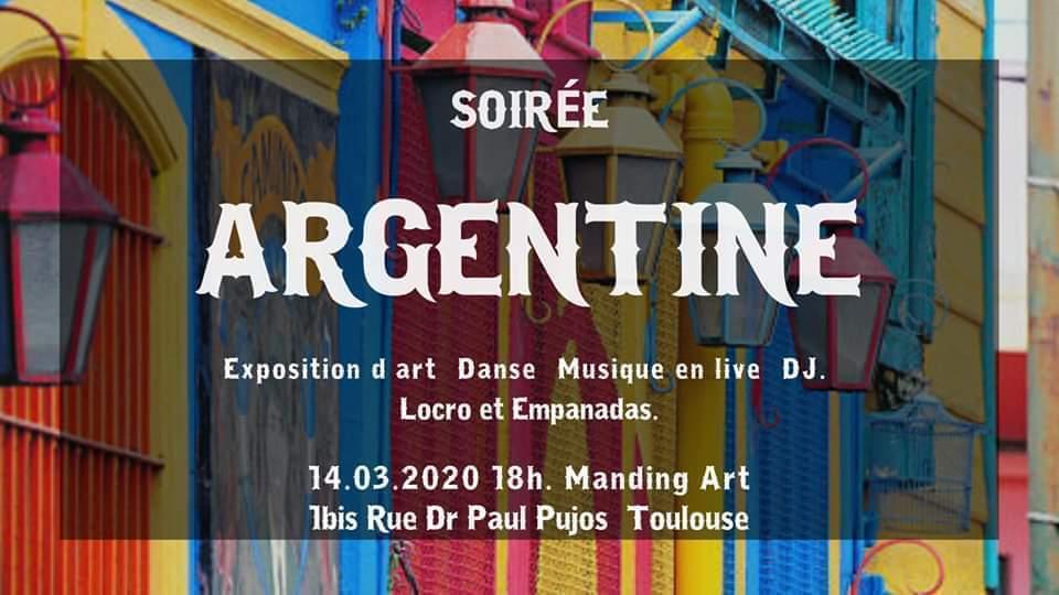 Soirée Argentine le 14 mars au Manding'art à Toulouse