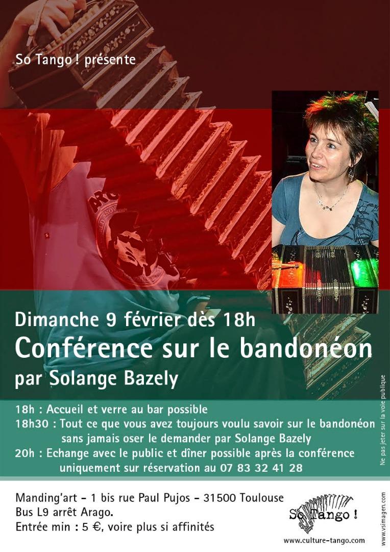 Conférence sur le Bandonéon par Solange Bazely le 9 février au Manding'art à Toulouse